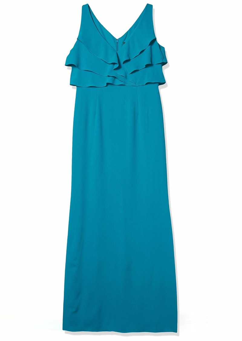 Adrianna Papell Women's Ruffle Crepe Gown LIGHT TEAL
