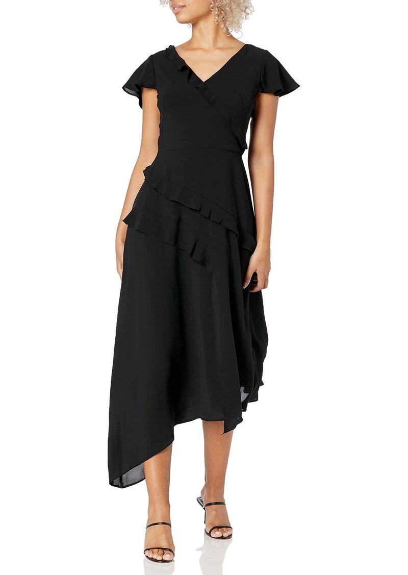 Adrianna Papell Women's Ruffle Midi Dress with Cap Sleeves
