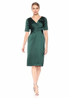 Adrianna Papell Women's Satin Wrap Cocktail Dress
