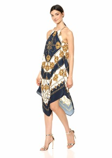 Adrianna Papell Women's Scarf Printed Halter Trapeze