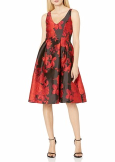 Adrianna Papell Women's Scarlett Jacquard Fit and Flare red/Multi
