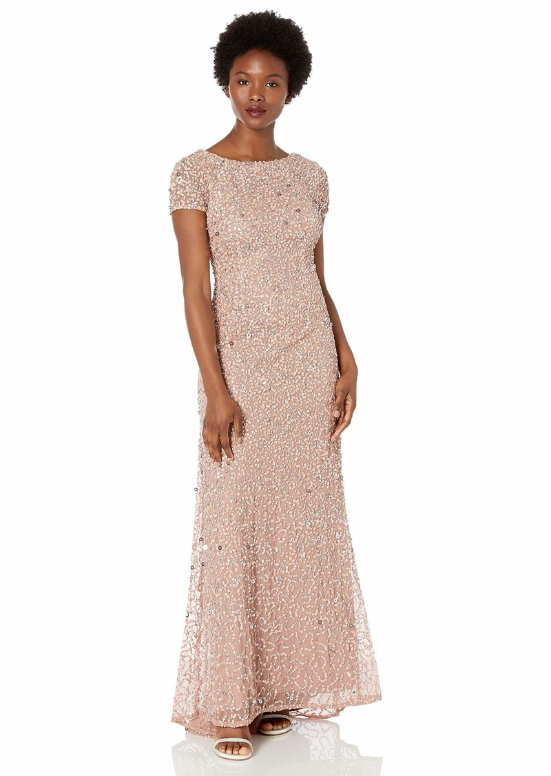 Adrianna Papell Women's Petite Scoop Back Sequin Gown  14P