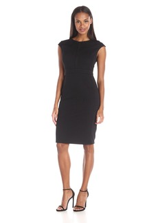 Adrianna Papell Women's Scoop Neck Cap Sleeve Bodycon Dress Combined with Lace