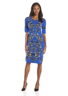 Adrianna Papell Women's Scoop-Neck Jacquard-Print Dress