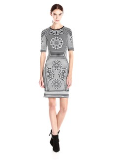 Adrianna Papell Women's Scoop Neck Short Sleeve Jacquard Dress Black/Ivory