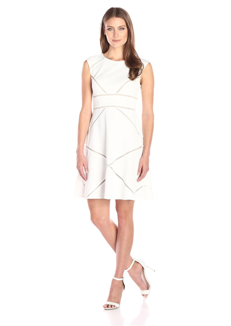 Adrianna Papell Women's Scoop Neck Sleeveless Dress W Illusion Splicing