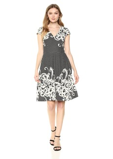 Adrianna Papell Women's Scroll Border Knit Fit and Flare Black/Ivory