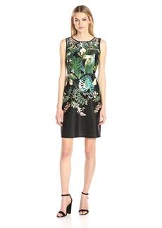 Adrianna Papell Women's Scuba Laser Cut A-line Dress