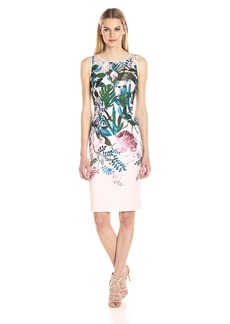 Adrianna Papell Women's Scuba Laser Cut Sheath Dress