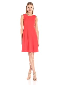 Adrianna Papell Women's Seamed Stretch Crepe Fit&Flare Dress