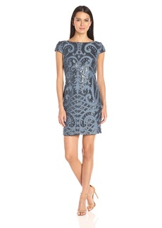 Adrianna Papell Women's Sequin Backed Lace Shift with Cap Sleeves