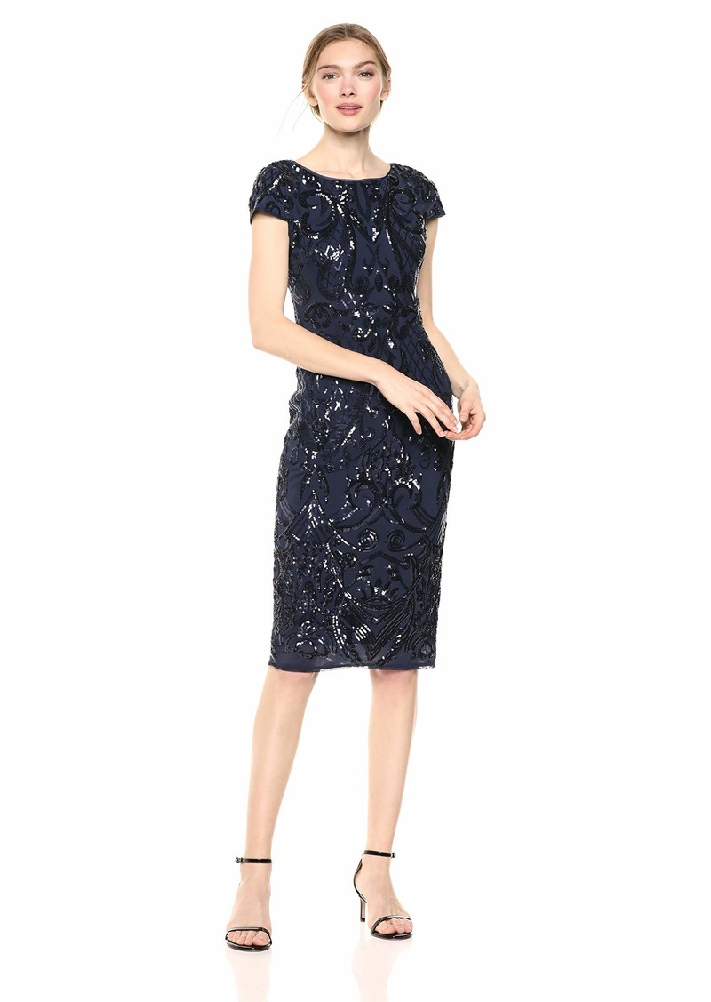 Adrianna Papell Women's Sequin Cocktail Dress with Cap Sleeves