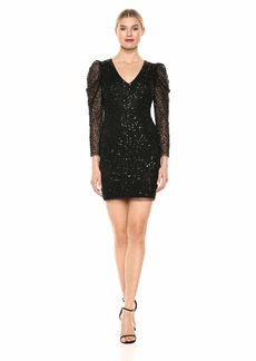 Adrianna Papell Women's Sequin Dress with Ruched Long Sleeves