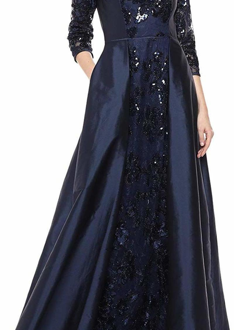 Adrianna Papell Women's Sequin Gown with Taffeta Skirt Overlay