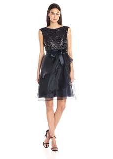 Adrianna Papell Women's Sequin Lace and Organze Short Party Dress