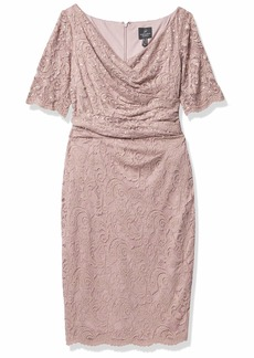 Adrianna Papell Women's Sequin Lace Dress with Short Sleeves and Draped Details