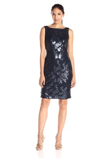 Adrianna Papell Women's Sequin Mesh Fitted Sleeveless Sheath Dress