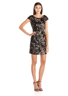 Adrianna Papell Women's Sequin Mesh Sheath Cocktail Dress with Cap Sleeves