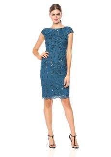 Adrianna Papell Women's Sequin Scroll Cap Sleeve Dress