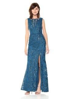 Adrianna Papell Women's Sequin Scroll Long Dress