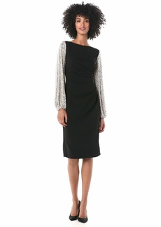 Adrianna Papell Women's Sequin Sleeve Crepe Dress