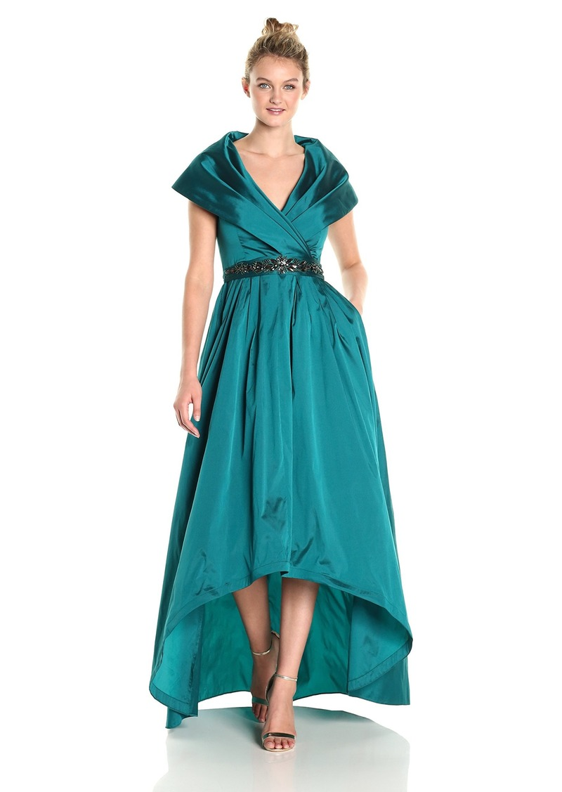 Adrianna Papell Women's Shawl Collar Taffeta Gown with Beaded Waistband
