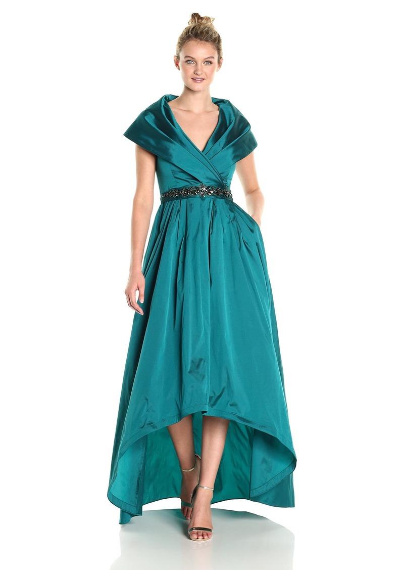 Adrianna Papell Women's Shawl Collar Taffeta Gown with Beaded Waistband