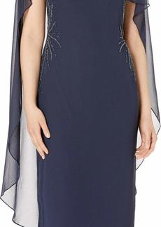 Adrianna Papell Women's Sheer Cape Dress with Beaded Accents