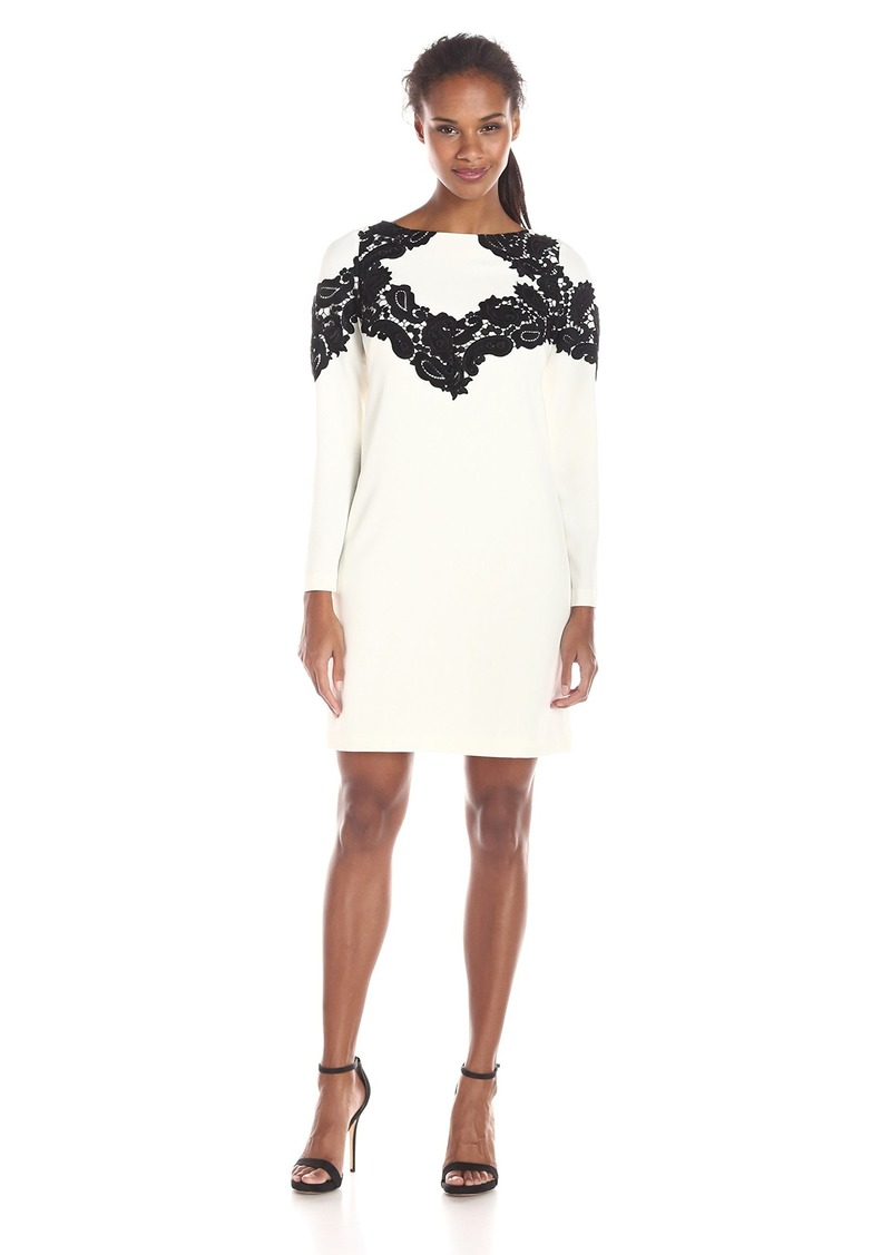Adrianna Papell Women's Shift Dress with Lace Applique Trim