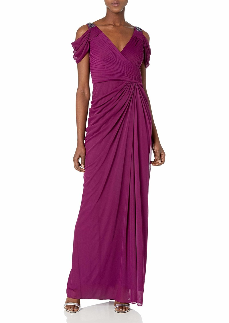 Adrianna Papell Women's Shirred Long Cold Gown with Embellished Shoulder