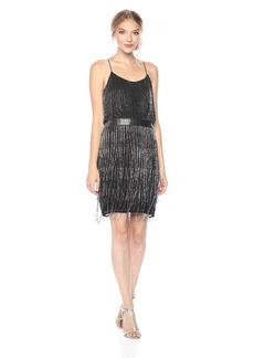 Adrianna Papell Women's Short Beaded Fringe Dress