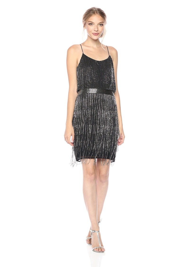 Adrianna Papell Women's Short Beaded Fringe Dress