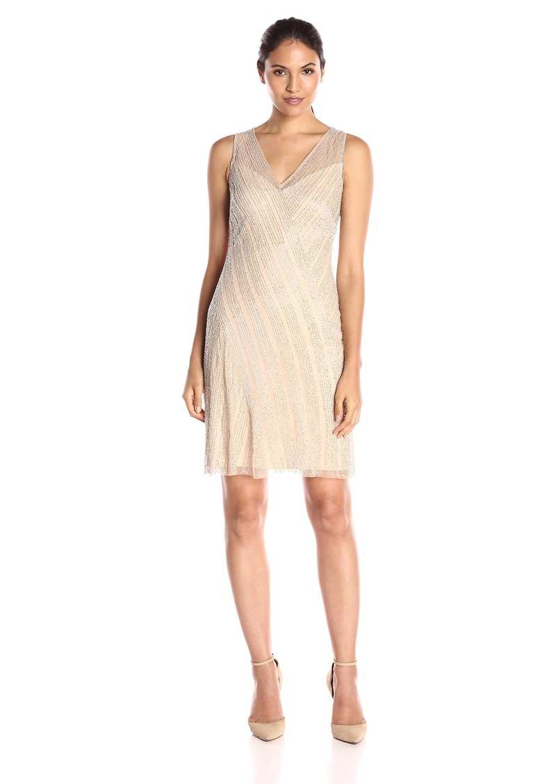 Adrianna Papell Women's Short Beaded V-Neck Cocktail Dress