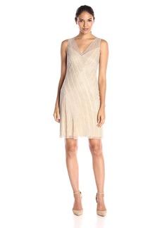 Adrianna Papell Women's Short Beaded V-Neck Cocktail Dress