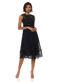 Adrianna Papell Women's Short Cap Sleeves Lace Dress
