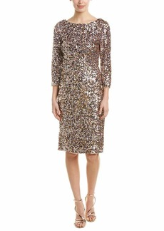 Adrianna Papell Women's Short Column Sequin Dress with Boat Neckline