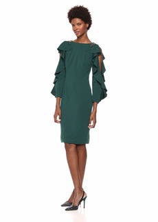 Adrianna Papell Women's Short Crepe Dress with Long Ruffle Sleeves