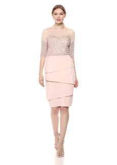 Adrianna Papell Women's Short Dress with Beaded Bodice and Layered Skirt