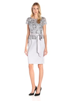 Adrianna Papell Women's Short Dress with Sequin Lace Bodice and Arcadia Skirt