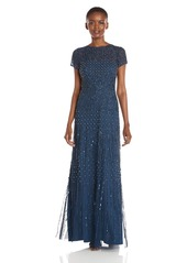 Adrianna Papell Women's Short Fully Beaded Gown with Cap Sleeves