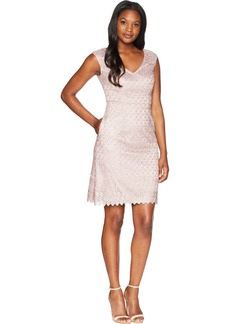 Adrianna Papell Women's Short Guipure Lace Dress with V Neckline