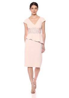 Adrianna Papell Women's Short Knit Crepe Dress with Peplum and LACE APPLIQUÉ