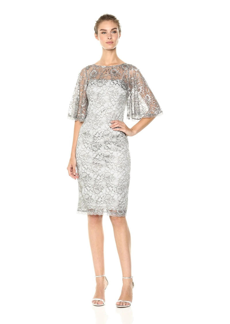 Adrianna Papell Women's Short Metallic LACE Dress with Flared Sleeve