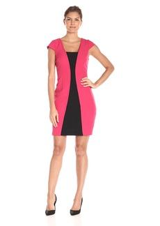 Adrianna Papell Women's Short Sleeve A-Line Colorblocked Dress
