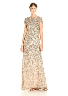 Adrianna Papell Women's Short-Sleeve All Over Sequin Gown
