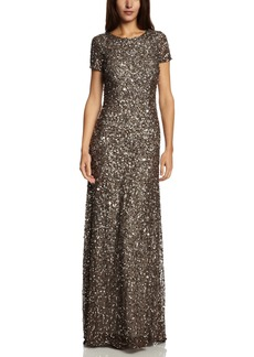 Adrianna Papell Women's Short Sleeve All Over Sequin Gown