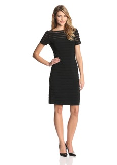 Adrianna Papell Women's Short Sleeve Banded Sheath Dress