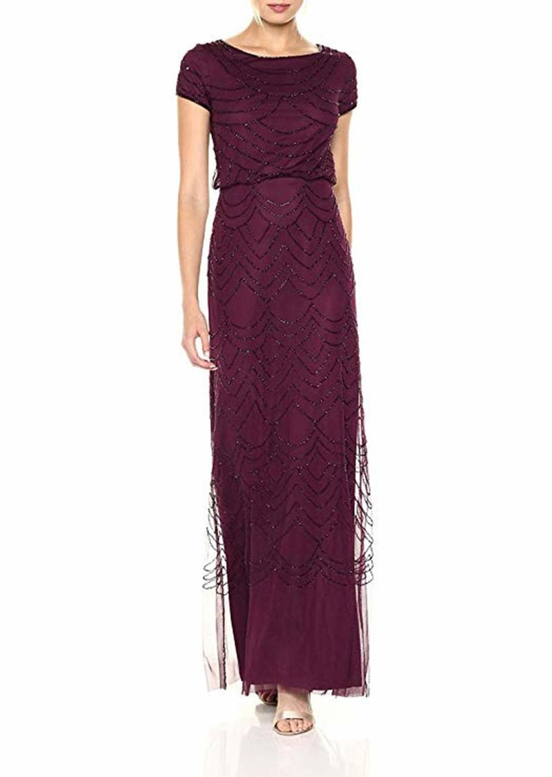 Adrianna Papell Women's Short Sleeve Blouson Beaded Gown