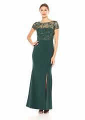 Adrianna Papell Women's Short Sleeve Beaded Bodice Long Mermaid Dress