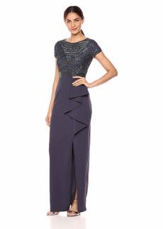 Adrianna Papell Women's Short Sleeve Beaded Bodice Stretch Cape Dress